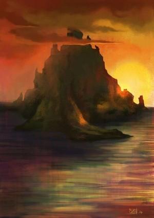 Una montaña en el mar