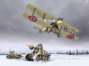 Los tanques y un avión