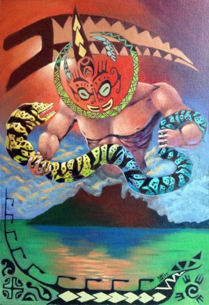 Polynesian God snake wrestling